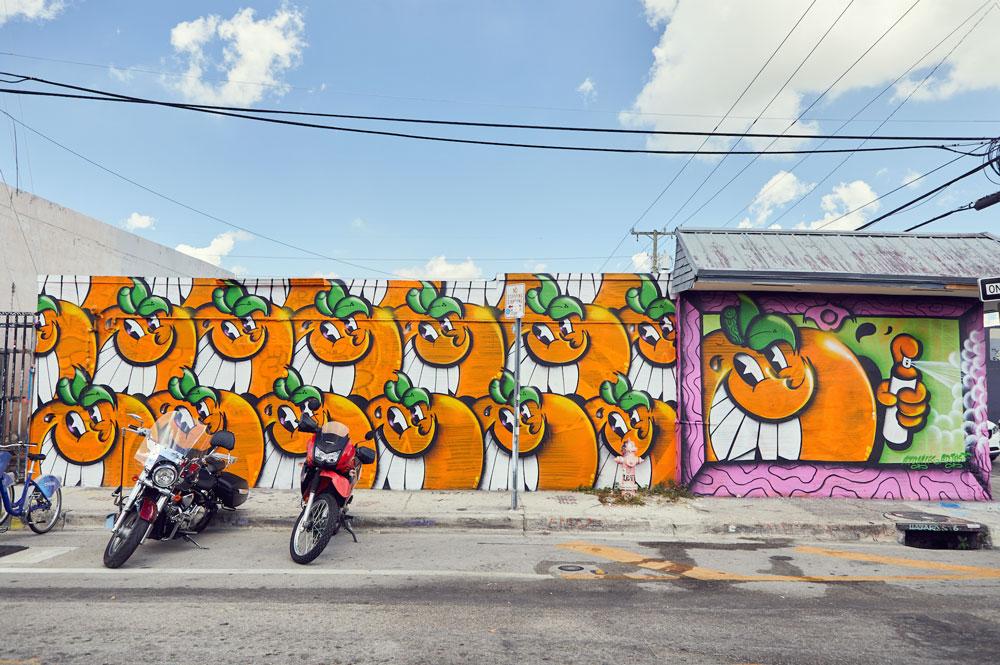 smile oranges mural