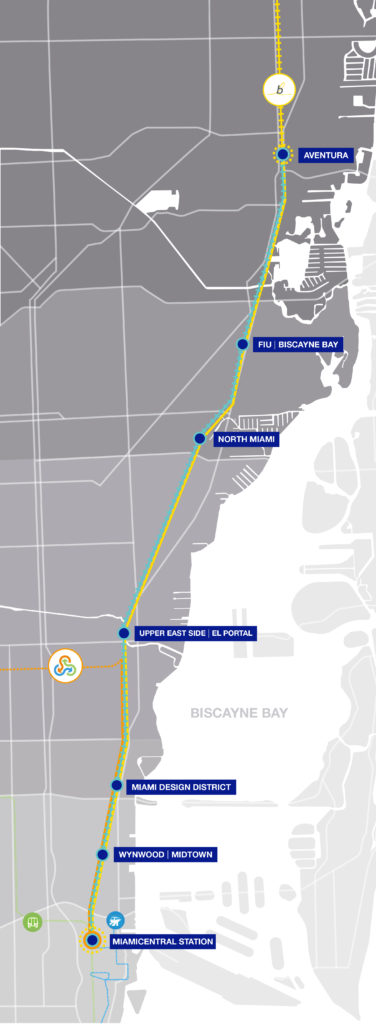 Proposed station locations for the Coastal Link commuter rail system.