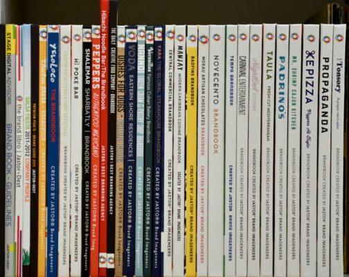 Shelf of brand books