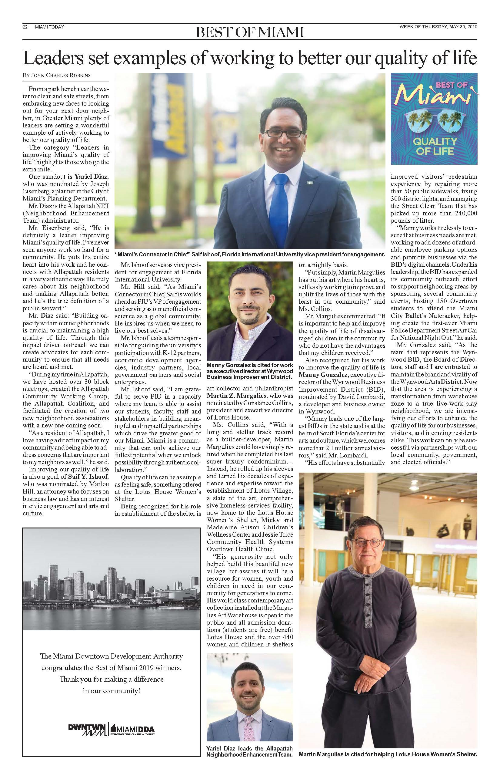 Scan of printed Miami Today article
