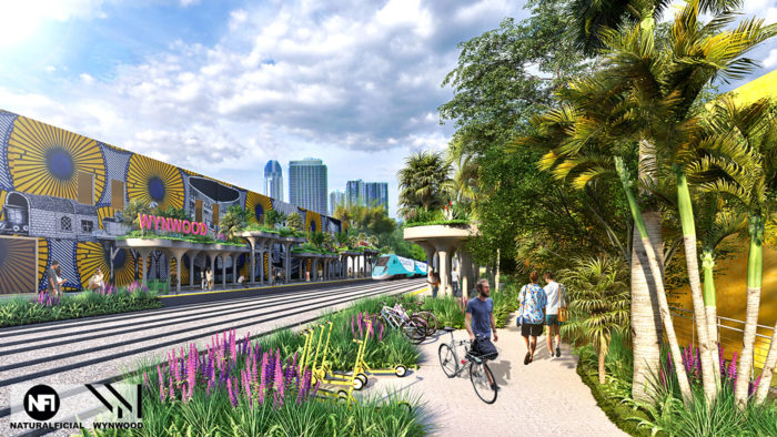 Rendering of a proposed commuter rail stop in Wynwood.