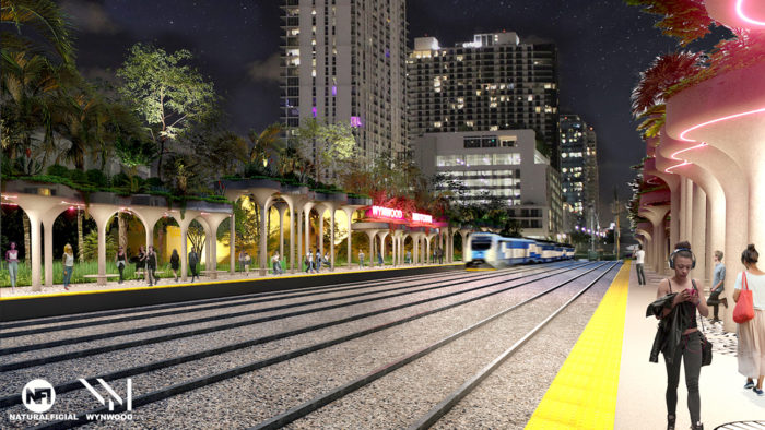A rendering for the proposed Wynwood SMART plan commuter rail station. Local leaders hope to expand rail access in Miami-Dade's northeast corridor. NATURALFICIAL LANDSCAPE ARCHITECTURE + DESIGN VIA WYNWOOD BID