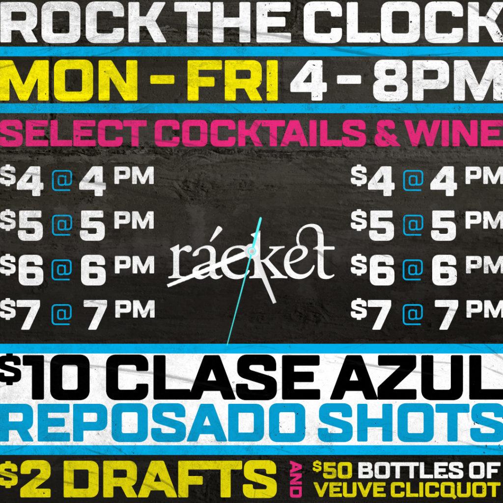 rock the clock happy hour